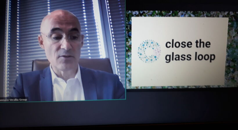 FEVE President, Michel Giannuzzi, at the launch of the Close the Glass Loop initiative today.