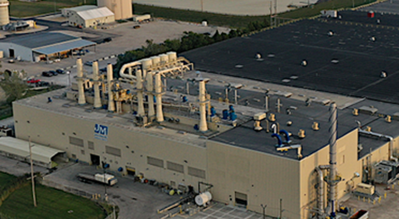 The Johns Manville glass fibre facility in Defiance, Ohio, USA.