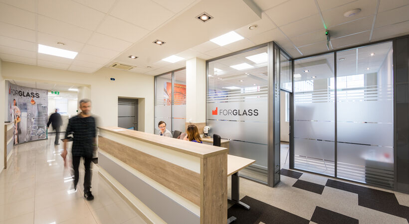 Forglass' new headquarters is nearly three times larger than the previous office.